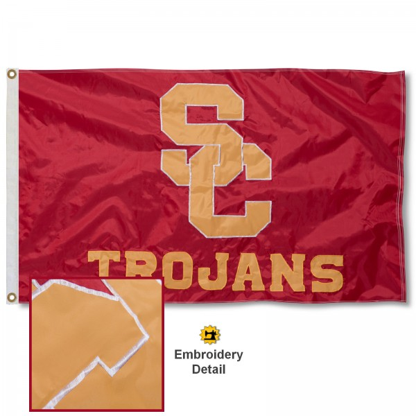 USC Trojans Nylon Embroidered Flag measures 3'x5', is made of 100% nylon, has quadruple flyends, two metal grommets, and has double sided appliqued and embroidered University logos. These USC Trojans 3x5 Flags are officially licensed by the selected university and the NCAA.