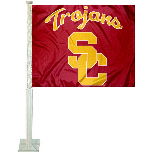 USC Trojans SC Logo Car Flag measures 12x15 inches, is constructed of sturdy 2 ply polyester, and has screen printed school logos which are readable and viewable correctly on both sides. USC Trojans SC Logo Car Flag is officially licensed by the NCAA and selected university.