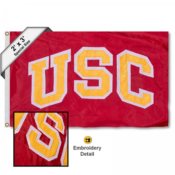 USC Trojans Small 2'x3' Flag measures 2x3 feet, is made of 100% nylon, offers quadruple stitched flyends, has two brass grommets, and offers embroidered ND logos and insignias. Our USC Trojans Small 2'x3' Flag is officially licensed by the selected university.