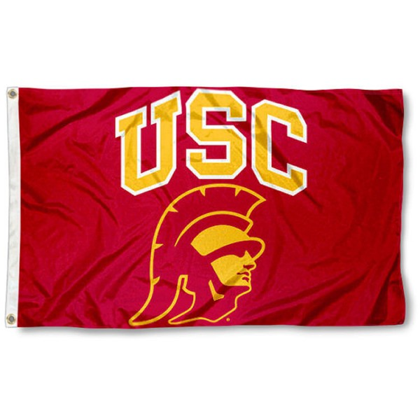 USC Trojans Trojan Head Logo Flag is made of 100% nylon, offers quad stitched flyends, measures 3x5 feet, has two metal grommets, and is viewable from both side with the opposite side being a reverse image. Our USC Trojans Trojan Head Logo Flag is officially licensed by the selected college and NCAA