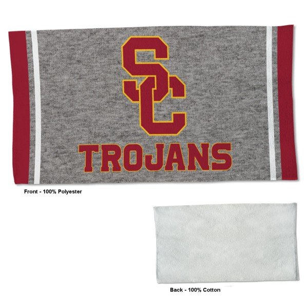 USC Trojans Workout Exercise Towel measures 22x42 inches, is made of 100% Polyester on the front and 100% Cotton on the back, has double stitched sewing perimeter, and Graphics and Logos, as shown. Our USC Trojans Workout Exercise Towel is officially licensed by the selected university and the NCAA. Also, machine washable and dryer safe.