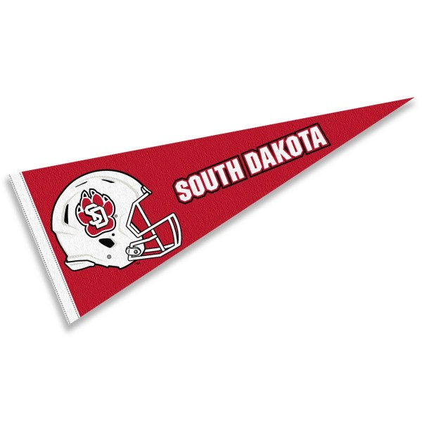 USD Coyotes Helmet Pennant consists of our full size sports pennant which measures 12x30 inches, is constructed of felt, is single sided imprinted, and offers a pennant sleeve for insertion of a pennant stick, if desired. This USD Coyotes Pennant Decorations is Officially Licensed by the selected university and the NCAA.