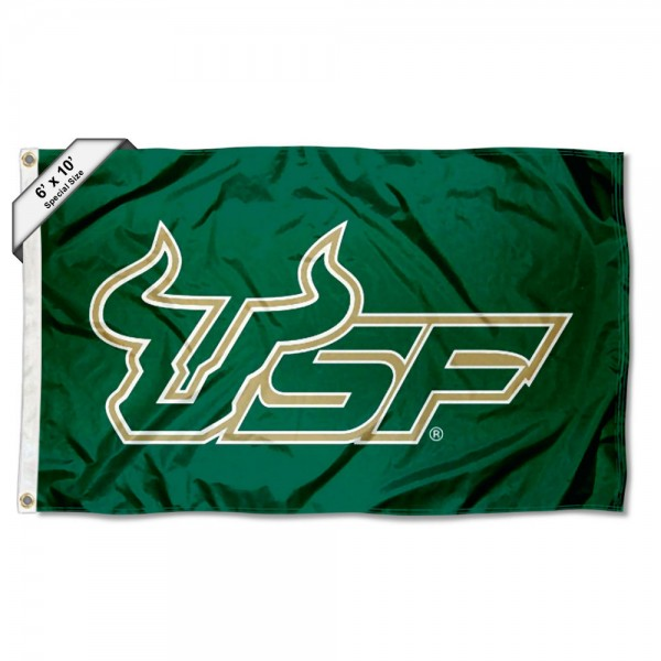 USF Bulls 6'x10' Flag measures 6x10 feet, is made of thick poly, has quadruple-stitched fly ends, and USF Bulls logos are screen printed into the USF Bulls 6'x10' Flag. This USF Bulls 6'x10' Flag is officially licensed by and the NCAA.