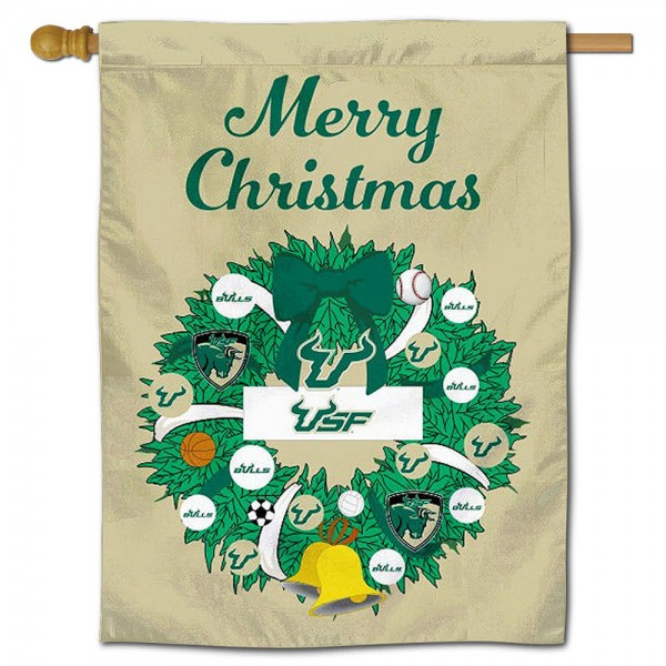 USF Bulls Happy Holidays Banner Flag measures 30x40 inches, is made of poly, has a top hanging sleeve, and offers dye sublimated USF Bulls logos. This Decorative USF Bulls Happy Holidays Banner Flag is officially licensed by the NCAA.