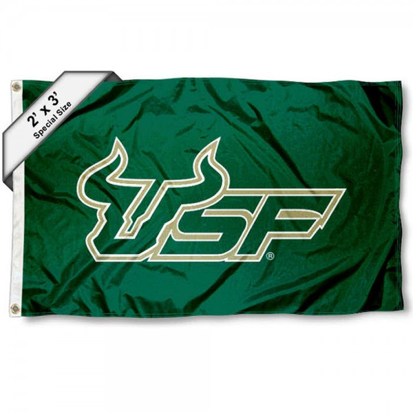 USF Bulls Small 2'x3' Flag measures 2x3 feet, is made of 100% polyester, offers quadruple stitched flyends, has two brass grommets, and offers printed USF Bulls logos, letters, and insignias. Our 2x3 foot flag is Officially Licensed by the selected university.