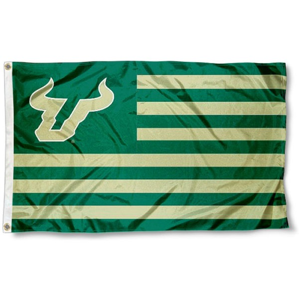 USF Bulls Stripes Flag measures 3'x5', is made of polyester, offers double stitched flyends for durability, has two metal grommets, and is viewable from both sides with a reverse image on the opposite side. Our USF Bulls Stripes Flag is officially licensed by the selected school university and the NCAA.