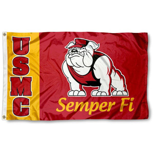 USMC Marines 3x5 Flag is made of 100% nylon, offers quad stitched flyends, measures 3x5 feet, has two metal grommets, and is viewable from both side with the opposite side being a reverse image. Our USMC Marines 3x5 Flag is officially licensed by the selected institution.