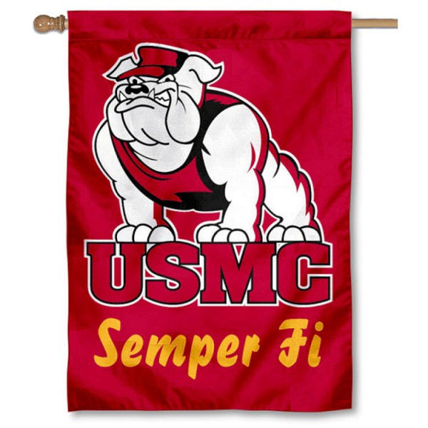USMC Semper Fi Double Sided Banner is a vertical house flag which measures 28x40 inches, is made of 2 ply 100% nylon, offers screen printed NCAA team insignias, and has a top pole sleeve to hang vertically. Our USMC Semper Fi Double Sided Banner is officially licensed by the selected university and the NCAA.