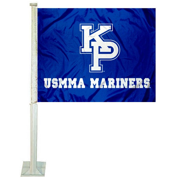 USMMA Mariners Car Window Flag measures 12x15 inches, is constructed of sturdy 2 ply polyester, and has screen printed school logos which are readable and viewable correctly on both sides. USMMA Mariners Car Window Flag is officially licensed by the NCAA and selected university.