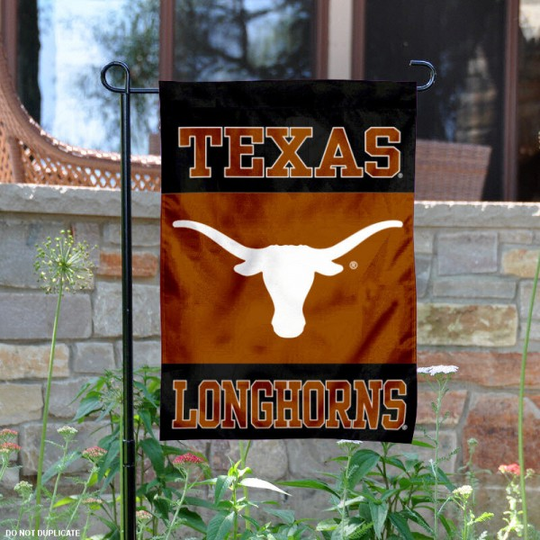 UT Longhorns Black Garden Flag is 13x18 inches in size, is made of 2-layer polyester, screen printed UT Longhorns Black athletic logos and lettering. Available with Same Day Express Shipping, Our UT Longhorns Black Garden Flag is officially licensed and approved by UT Longhorns and the NCAA.