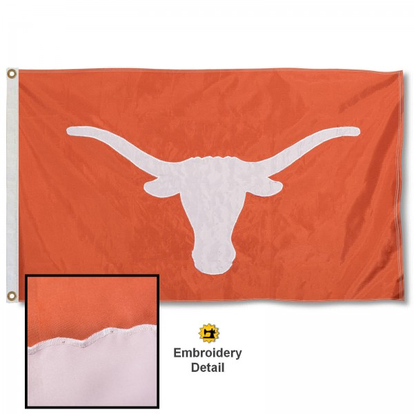 UT Longhorns Nylon Embroidered Flag measures 3'x5', is made of 100% nylon, has quadruple flyends, two metal grommets, and has double sided appliqued and embroidered University logos. These UT Longhorns 3x5 Flags are officially licensed by the selected university and the NCAA.