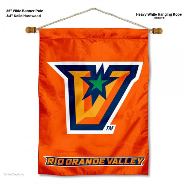 "UT Rio Grande Valley Vaqueros Wall Banner is constructed of polyester material, measures a large 30""x40"", offers screen printed athletic logos, and includes a sturdy 3/4"" diameter and 36"" wide banner pole and hanging cord. Our UT Rio Grande Valley Vaqueros Wall Banner is Officially Licensed by the selected college and NCAA."
