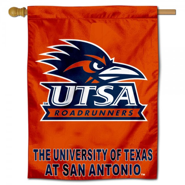 UT San Antonio Banner Flag is a vertical house flags, is constructed of polyester material, measures 30x40 inches, offers screen printed UT San Antonio NCAA team insignias, and has a top pole sleeve to hang vertically. Our UT San Antonio Banner Flag is officially licensed by the selected university and NCAA.