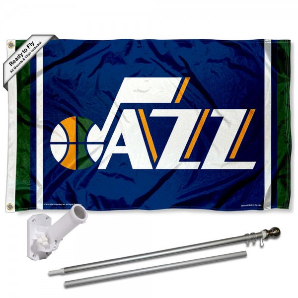 Our Utah Jazz Flag Pole and Bracket Kit includes the flag as shown and the recommended flagpole and flag bracket. The flag is made of polyester, has quad-stitched flyends, and the NBA Licensed team logos are double sided screen printed. The flagpole and bracket are made of rust proof aluminum and includes all hardware so this kit is ready to install and fly.
