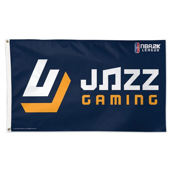 Utah Jazz NBA2K Gaming Flag measures 3x5 feet and offers 4 stitched flyends for durability. Utah Jazz NBA2K Gaming Flag is made of 1-ply polyester, has two metal grommets, and is viewable from both sides with the opposite side being a reverse image. This Utah Jazz NBA2K Gaming Flag is Officially Approved by the Utah Jazz and the NBA.