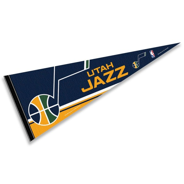 This Utah Jazz Pennant measures 12x30 inches, is constructed of felt, and is single sided screen printed with the Utah Jazz logo and insignia. Each Utah Jazz Pennant is a NBA Officially Licensed product.