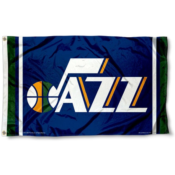 The Utah Jazz Team Flag is four-stitched bordered, double sided, made of poly, 3'x5', and has two grommets. These Utah Jazz Team Flags are NBA Genuine Merchandise.