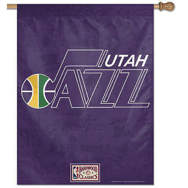 Utah Jazz Throwback Flag is 27x37 inches, has Utah Jazz Throwback Designs and is made of polyester and Same Day Shipped!. This Utah Jazz Throwback Flag provides a pole sleeve is NBA Genuine Merchandise.