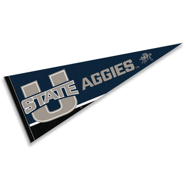 Utah State Aggies Decorations consists of our full size pennant which measures 12x30 inches, is constructed of felt, is single sided imprinted, and offers a pennant sleeve for insertion of a pennant stick, if desired. This Utah State Aggies Decorations is officially licensed by the selected university and the NCAA