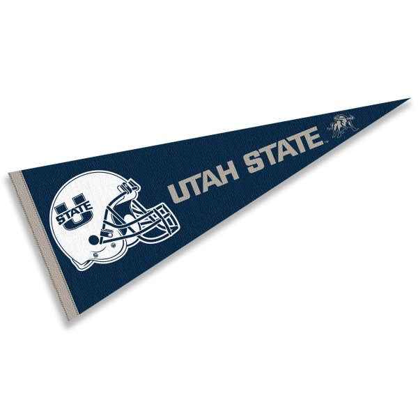 Utah State Aggies Helmet Pennant consists of our full size sports pennant which measures 12x30 inches, is constructed of felt, is single sided imprinted, and offers a pennant sleeve for insertion of a pennant stick, if desired. This Utah State Aggies Pennant Decorations is Officially Licensed by the selected university and the NCAA.