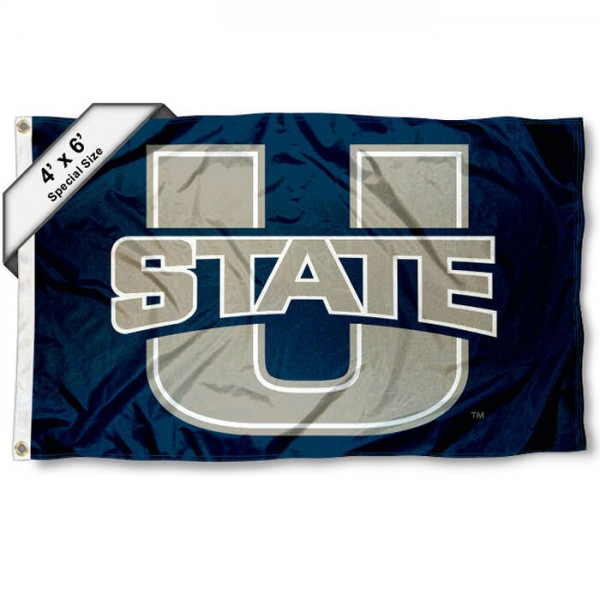 Utah State Aggies Large 4x6 Flag measures 4x6 feet, is made thick woven polyester, has quadruple stitched flyends, two metal grommets, and offers screen printed NCAA Utah State Aggies Large athletic logos and insignias. Our Utah State Aggies Large 4x6 Flag is officially licensed by Utah State Aggies and the NCAA.