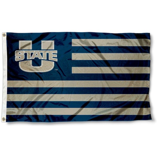 Utah State Aggies Stripes Flag measures 3'x5', is made of polyester, offers double stitched flyends for durability, has two metal grommets, and is viewable from both sides with a reverse image on the opposite side. Our Utah State Aggies Stripes Flag is officially licensed by the selected school university and the NCAA.