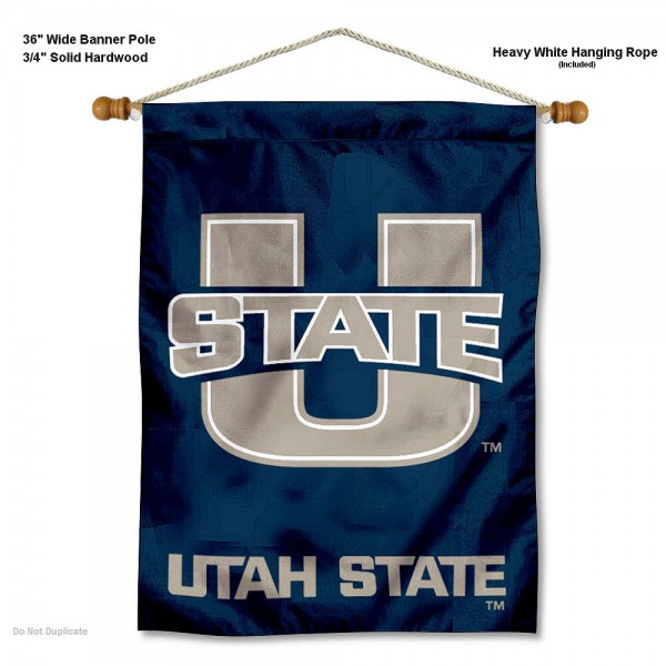 "Utah State Aggies Wall Banner is constructed of polyester material, measures a large 30""x40"", offers screen printed athletic logos, and includes a sturdy 3/4"" diameter and 36"" wide banner pole and hanging cord. Our Utah State Aggies Wall Banner is Officially Licensed by the selected college and NCAA."
