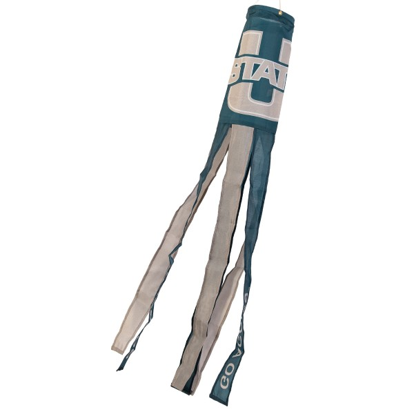 """Utah State Aggies Windsock measures 40"""" in length by 5"""" in width, is made of 100% polyester, offers screen printed NCAA team logos, team names and insignias, has 6 alternative colored streamers and tails, includes a double stringed bridle and hanging swivel clip, and our Utah State Aggies Windsock is authentic, licensed, and approved by the selected university or team."""