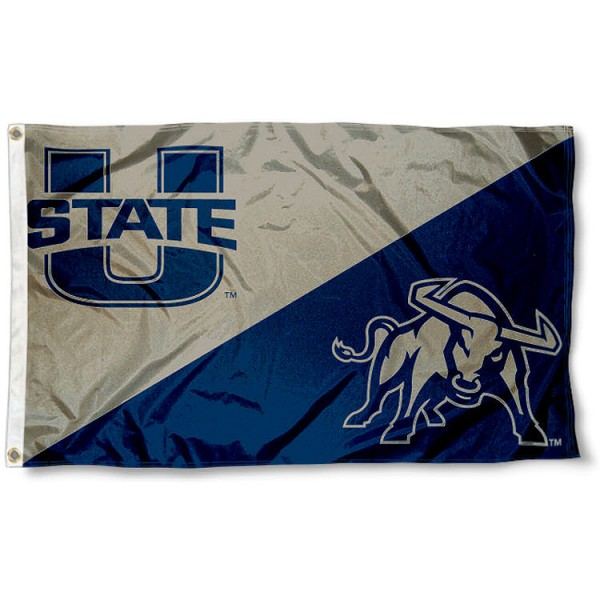 Utah State University Athletic Logos Flag measures 3'x5', is made of 100% poly, has quadruple stitched sewing, two metal grommets, and has double sided Team University logos. Our Utah State University Athletic Logos Flag is officially licensed by the selected university and the NCAA.