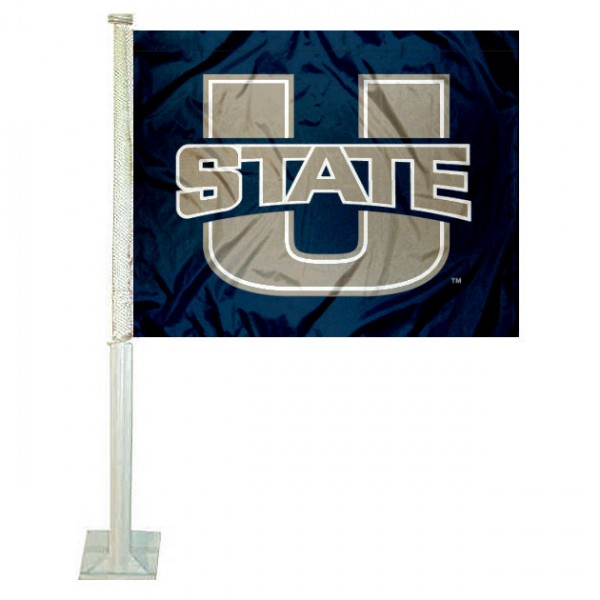 Utah State University Car Window Flag measures 12x15 inches, is constructed of sturdy 2 ply polyester, and has dye sublimated school logos which are readable and viewable correctly on both sides. Utah State University Car Window Flag is officially licensed by the NCAA and selected university.