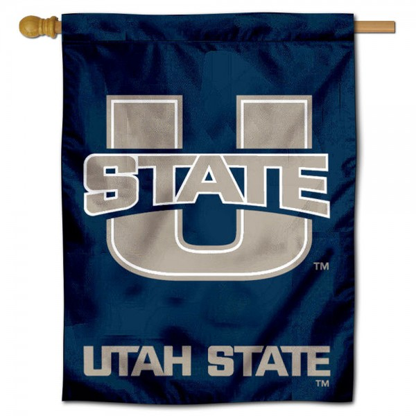 "Utah State University House Flag is constructed of polyester material, is a vertical house flag, measures 30""x40"", offers screen printed athletic insignias, and has a top pole sleeve to hang vertically. Our Utah State University House Flag is Officially Licensed by Utah State University and NCAA."