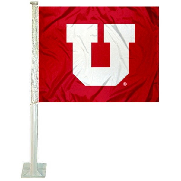 Utah Utes Car Window Flag measures 12x15 inches, is constructed of sturdy 2 ply polyester, and has screen printed school logos which are readable and viewable correctly on both sides. Utah Utes Car Window Flag is officially licensed by the NCAA and selected university.