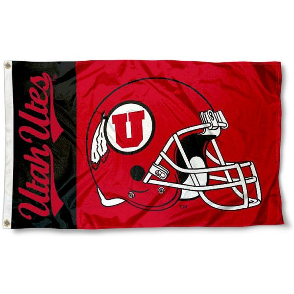 Utah Utes Football Flag measures 3'x5', is made of 100% poly, has quadruple stitched sewing, two metal grommets, and has double sided Utah Utes logos. Our Utah Utes Football Flag is officially licensed by the selected university and the NCAA.