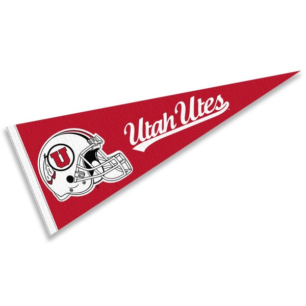 Utah Utes Helmet Pennant consists of our full size sports pennant which measures 12x30 inches, is constructed of felt, is single sided imprinted, and offers a pennant sleeve for insertion of a pennant stick, if desired. This Utah Utes Pennant Decorations is Officially Licensed by the selected university and the NCAA.