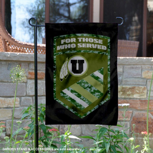 Utah Utes Military Served Garden Flag is 13x18 inches in size, is made of 2-layer polyester, screen printed university athletic logos and lettering, and is readable and viewable correctly on both sides. Available same day shipping, our Utah Utes Military Served Garden Flag is officially licensed and approved by the university and the NCAA.