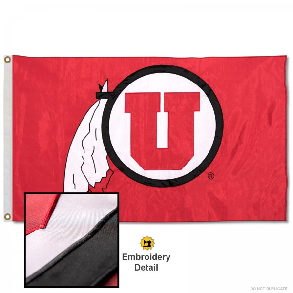 Utah Utes Nylon Embroidered Flag measures 3'x5', is made of 100% nylon, has quadruple flyends, two metal grommets, and has double sided appliqued and embroidered University logos. These Utah Utes 3x5 Flags are officially licensed by the selected university and the NCAA.