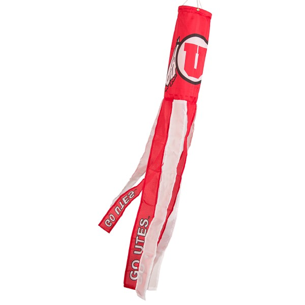 """Utah Utes Windsock measures 40"""" in length by 5"""" in width, is made of 100% polyester, offers screen printed NCAA team logos, team names and insignias, has 6 alternative colored streamers and tails, includes a double stringed bridle and hanging swivel clip, and our Utah Utes Windsock is authentic, licensed, and approved by the selected university or team."""