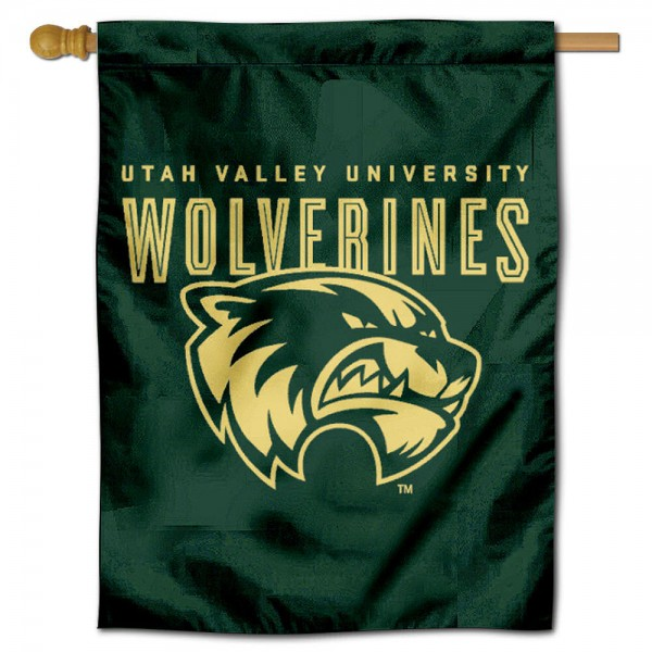Utah Valley Wolverines House Flag is a vertical house flag which measures 30x40 inches, is made of 2 ply 100% polyester, offers dye sublimated NCAA team insignias, and has a top pole sleeve to hang vertically. Our Utah Valley Wolverines House Flag is officially licensed by the selected university and the NCAA.