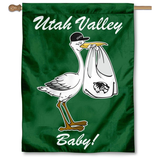 Utah Valley Wolverines New Baby Flag measures 30x40 inches, is made of poly, has a top hanging sleeve, and offers dye sublimated Utah Valley Wolverines logos. This Decorative Utah Valley Wolverines New Baby House Flag is officially licensed by the NCAA.