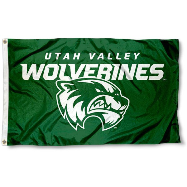 Utah Valley Wolverines New Logo Flag measures 3x5 feet, is made of 100% polyester, offers quadruple stitched flyends, has two metal grommets, and offers screen printed NCAA team logos and insignias. Our Utah Valley Wolverines New Logo Flag is officially licensed by the selected university and NCAA.