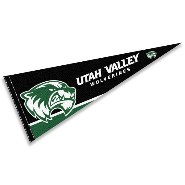 Utah Valley Wolverines Pennant consists of our full size sports pennant which measures 12x30 inches, is constructed of felt, is single sided imprinted, and offers a pennant sleeve for insertion of a pennant stick, if desired. This Utah Valley Wolverines Felt Pennant is officially licensed by the selected university and the NCAA.