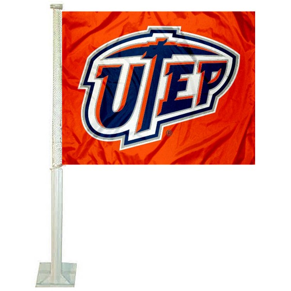 UTEP Car Window Flag measures 12x15 inches, is constructed of sturdy 2 ply polyester, and has screen printed school logos which are readable and viewable correctly on both sides. UTEP Car Window Flag is officially licensed by the NCAA and selected university.