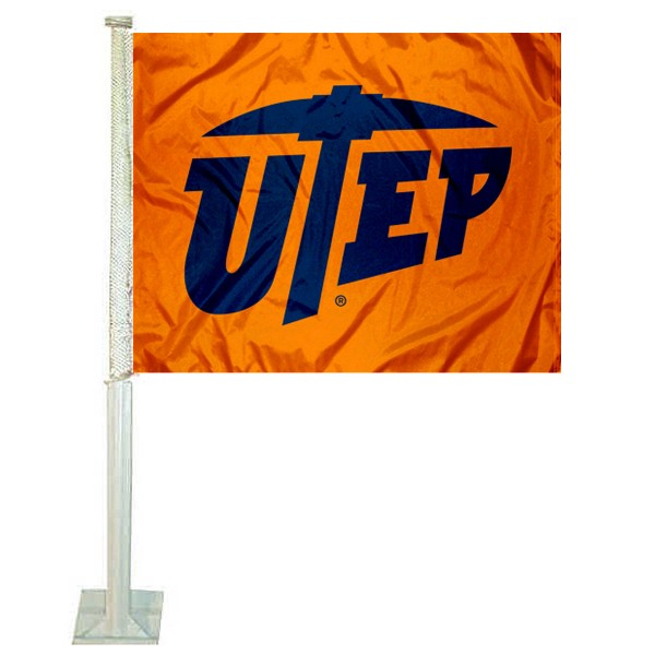 UTEP Logo Car Flag measures 12x15 inches, is constructed of sturdy 2 ply polyester, and has screen printed school logos which are readable and viewable correctly on both sides. UTEP Logo Car Flag is officially licensed by the NCAA and selected university.