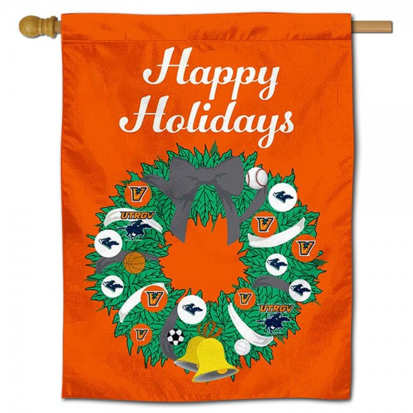 UTRGV Vaqueros Happy Holidays Banner Flag measures 30x40 inches, is made of poly, has a top hanging sleeve, and offers dye sublimated UTRGV Vaqueros logos. This Decorative UTRGV Vaqueros Happy Holidays Banner Flag is officially licensed by the NCAA.