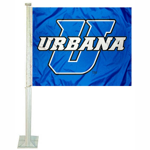 UU Blue Knights Car Flag measures 12x15 inches, is constructed of sturdy 2 ply polyester, and has screen printed school logos which are readable and viewable correctly on both sides. UU Blue Knights Car Flag is officially licensed by the NCAA and selected university.