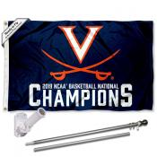 UVA Cavaliers 2019 Basketball National Champions Flag Pole and Bracket Kit