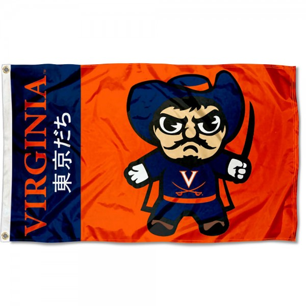 UVA Cavaliers Kawaii Tokyo Dachi Yuru Kyara Flag measures 3x5 feet, is made of 100% polyester, offers quadruple stitched flyends, has two metal grommets, and offers screen printed NCAA team logos and insignias. Our UVA Cavaliers Kawaii Tokyo Dachi Yuru Kyara Flag is officially licensed by the selected university and NCAA.