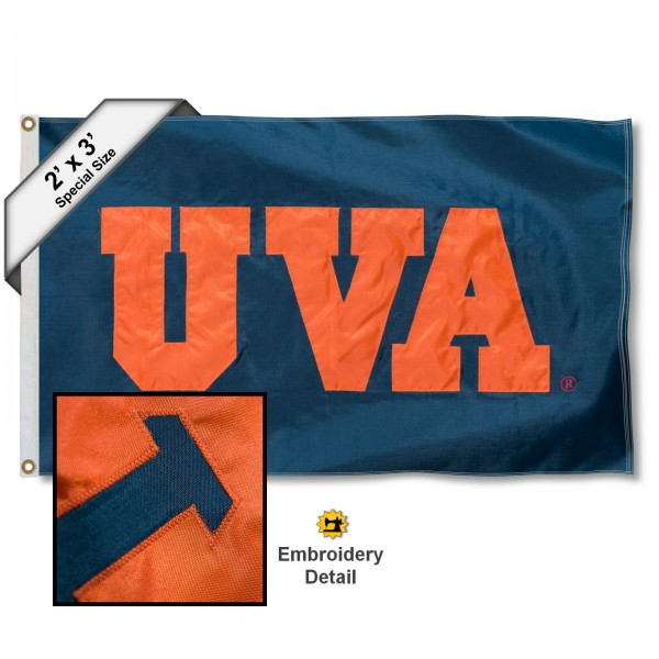 UVA Small 2'x3' Flag measures 2x3 feet, is made of 100% nylon, offers quadruple stitched flyends, has two brass grommets, and offers embroidered UVA logos, letters, and insignias. Our UVA Small 2'x3' Flag is Officially Licensed by the selected university.