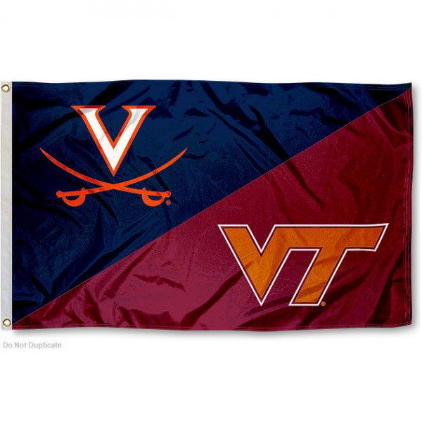 UVA vs. VT House Divided 3x5 Flag sizes at 3x5 feet, is made of 100% polyester, has quadruple-stitched fly ends, and the university logos are screen printed into the UVA vs. VT House Divided 3x5 Flag. The UVA vs. VT House Divided 3x5 Flag is approved by the NCAA and the selected universities.