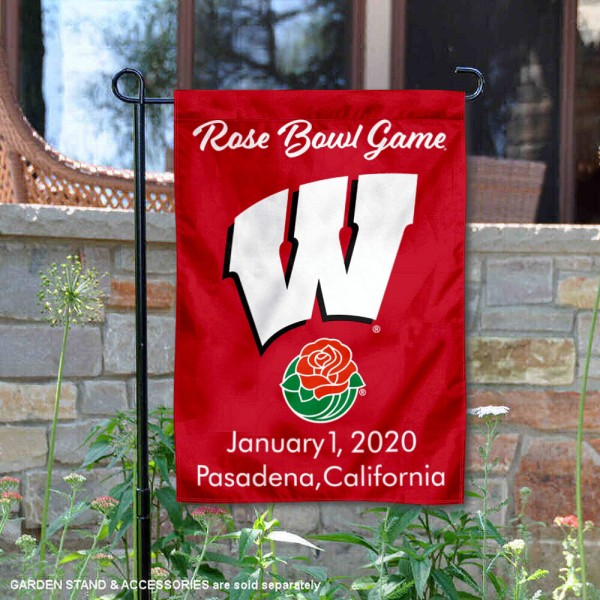 UW Badgers 2020 Rose Bowl Game Garden Flag is 13x18 inches in size, is made of 2-layer polyester, screen printed university athletic logos and lettering, and is readable and viewable correctly on both sides. Available same day shipping, our UW Badgers 2020 Rose Bowl Game Garden Flag is officially licensed and approved by the university and the NCAA.